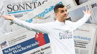Einige Schweizer Fussball-Spieler wie Granit Xhaka sollen laut Meldungen von Sonntagszeitungen entgegen öffentlichen Äusserungen gar keine Doppelbürger sein. (Archivbild)