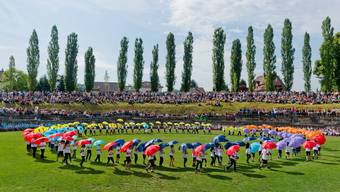 Das Amphitheater ist die Bühne für die Morgenfeier am alle zwei Jahre stattfindenden Jugendfest Windisch.