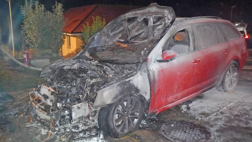 Die Polizei geht davon aus, dass das Auto vorsätzlich angezündet wurde.