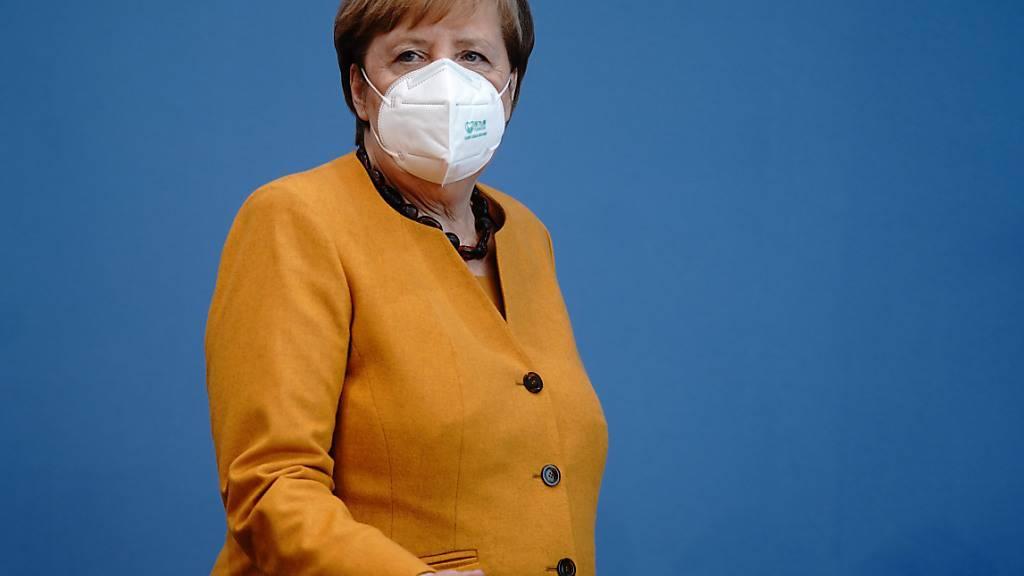 Bundeskanzlerin Angela Merkel informiert Medienvertreter über die Ergebnisse des Corona-Kabinetts zu den Corona-Maßnahmen und über die aktuelle Lage des Infektionsgeschehens. Foto: Kay Nietfeld/dpa-Pool/dpa