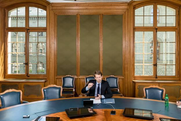 Fritz Zurbrügg beim Interview im ehrwürdigen und frisch renovierten Sitzungszimmer der SNB am Berner Bundesplatz.