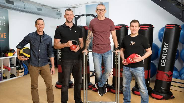 Sie feiern Jubiläum: Manolito Steiner, Pascal Blunschi, Daniel Miletic und Tobias Knecht (von links) im Flex Do.
