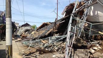 Bild der Zerstörung nach den Beben in Mashiki in der Präfektur Kumamoto