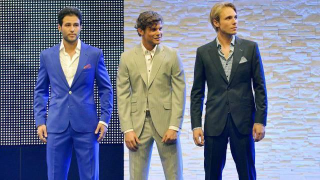 Mister Schweiz Sandro Cavegn, Dario Hold und Ronny Lnenicka (von links). Foto: Keystone