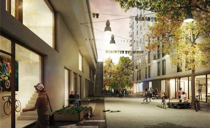 Wohnraum für Studenten und Spitalpersonal, dazu eine Cafeteria und Ateliers: So soll «Binz-Wohnen» aussehen.Visualisierung zvg