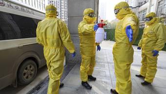 Desinfektion nach der Beerdigung eines Coronavirus-Opfers in Wuhan, Zentralchina.