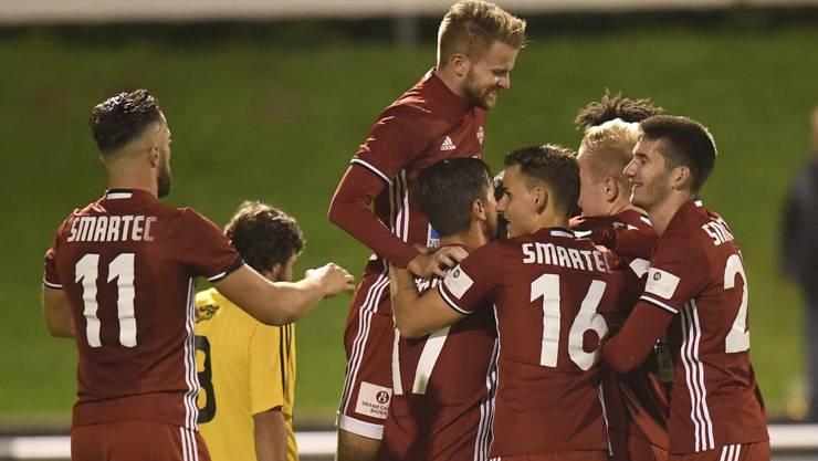 Grund zur Freude: Die Badener konnten das letzte Saisonspiel auswärts in Langenthal 3:0 gewinnen.