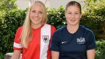 Michelle (links) und Julia Stierli wollen sich an der U-19-Fussball-Europameisterschaft in der Slowakei möglichst gut in Szene setzen.