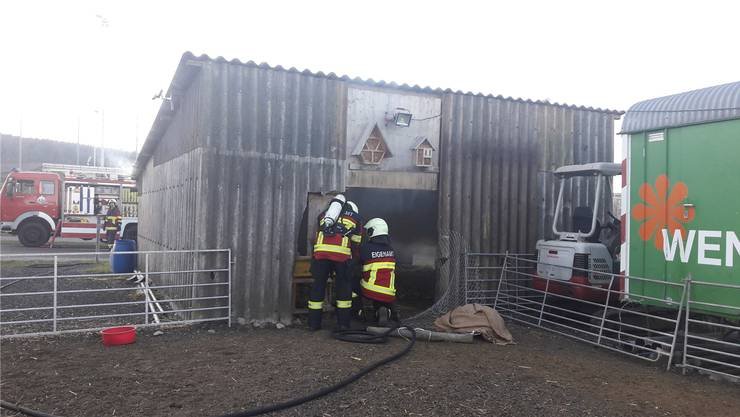 Beim Brand am 27. Dezember 2016 in einem Stall in Birr kam die Feuerwehr Eigenamt zum Einsatz. (Archiv)