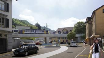 Eines der Projekte aus dem Agglomerationsprogramm: So sollen Eisenbahnbrücke und Kreisel bei der Mellingerstrasse in Baden künftig aussehen.