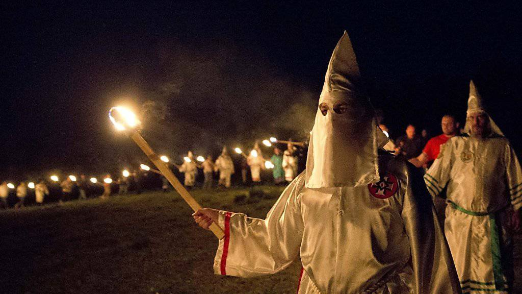 Fackelmarsch von Ku Klux Klan-Leuten im vergangenen April im US-Bundesstaat Georgia