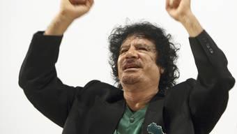 Gaddafi während einer Rede in Belgien 2007.