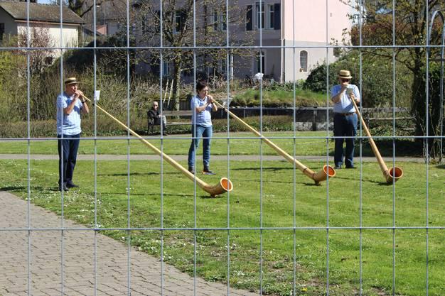 Alphornspiel hinter Gitter (von links): Kurt Amsler, Monika Thönen, Paul Roth