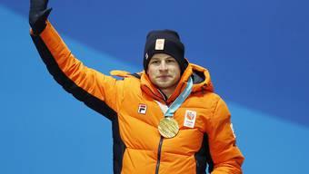 Sven Kramer, der Olympiasieger über 5000 m, bei der Medaillenzeremonie in Pyeongchang