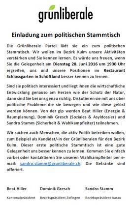 Stammtisch in Schöftland am 28.06. um 1930