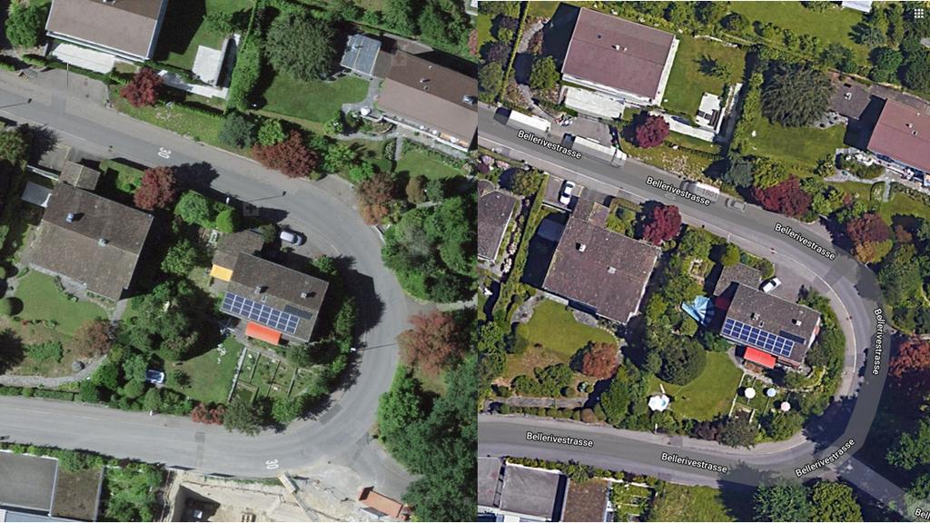 Links die detaillierte Auflösung von Swisstopo, rechts diejenige von Google.