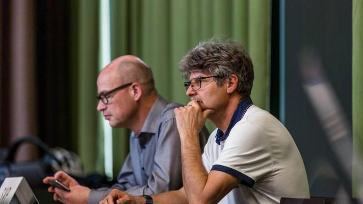 Beat Kilchenmann und Thomas Grädel von der SVP-Fraktion des Schlieremer Stadtparlaments.