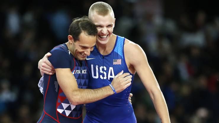 Im Wettkampf die ärgsten Konkurrenten, daneben Freunde: Sam Kendricks (rechts) und Renaud Lavillenie.