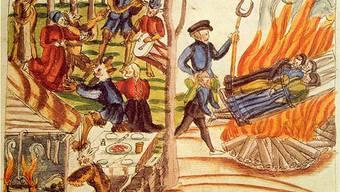Darstellung einer Hexenverbrennung in Bremgarten aus dem 16. Jahrhundert.