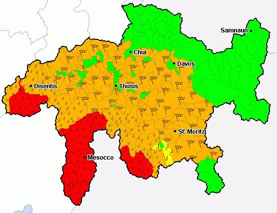 Am Dienstagmorgen hat sich die Lage wieder etwas entspannt. In einigen Gebieten besteht jedoch nach wie vor Warnstufe Rot.