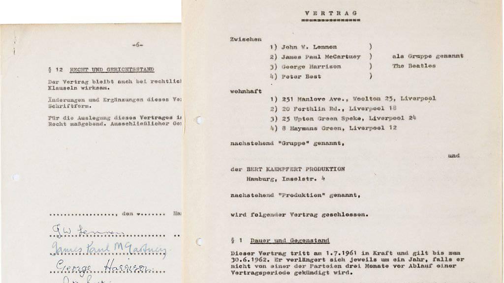 Das Dokument, das am Anfang der Karriere der Beatles stand: Ein Bieter ersteigerte den Vertrag in New York für 75'000 Dollar. (Archivbild)