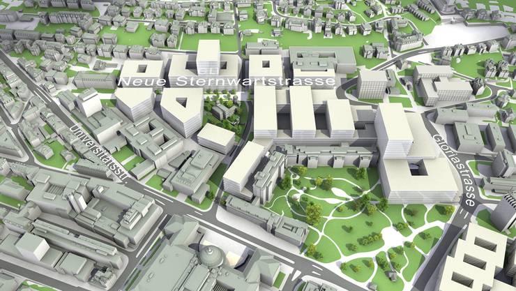 Visualisierung des Hochschulgebiets Zürich Zentrum, 2015