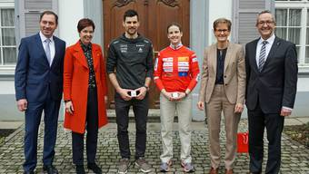 Gruppenbild Regierungsrat Kanton Basel-Landschaft mit Sabina Hafner und Mario Dolder.