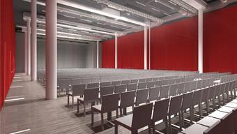 Verläuft alles nach Plan, wird der Campussaal im Oktober eröffnet – und sich dann wie auf dieser Visualisierung präsentieren.