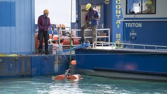 Von einer Plattform in der Bucht bei Buochs NW lassen Forscher im Rahmen eines Tsunami-Projekts Messgeräte ins Wasser.