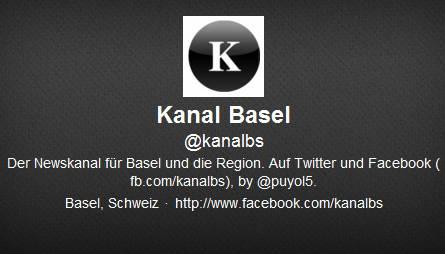 Ein Ostschweizer, der die Region auf dem Laufenden hält: Das ist der Twitter- Account Kanal Basel. Der St. Galler Webdesigner Thierry Hinder hat den Überblick über die wichtigsten Nachrichten-Websites der Region Basel und twittert laufend die Links zu den aktuellen Artikeln, die hochgeladen werden. Er selbst twittert auch unter dem Namen @puyol5. Zwar gehen zwischendurch interessante Artikel vergessen, aber nichtsdestotrotz ist Kanal Basel ein guter Service - zumal gratis. Aktuell hat dieser Account 691 Follower.