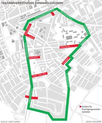 Die roten Strassen sind ab 1. Januar 2019 nur noch für den Zubringer-Verkehr offen.