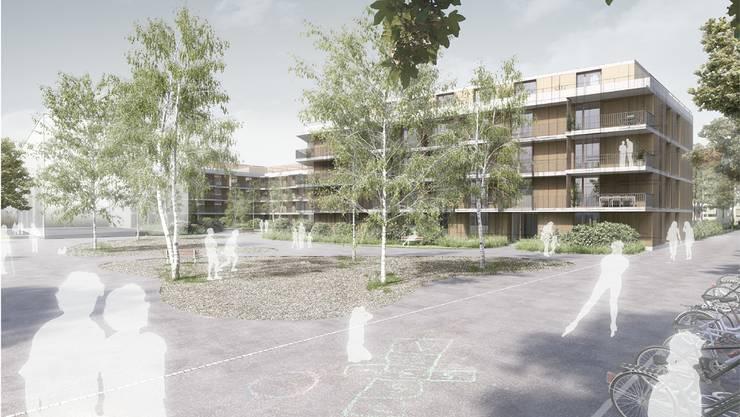 Ein Teil des heutigen Parkplatzes an der Belforterstrasse soll überbaut werden – unter anderem werden20 Wohnungen für Studierende entstehen.