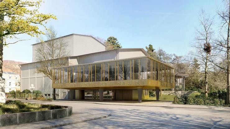 Visualisierung des Kurtheaters Baden. Im Oktober wird es feierlich wieder eröffnet - Corona hin oder her.