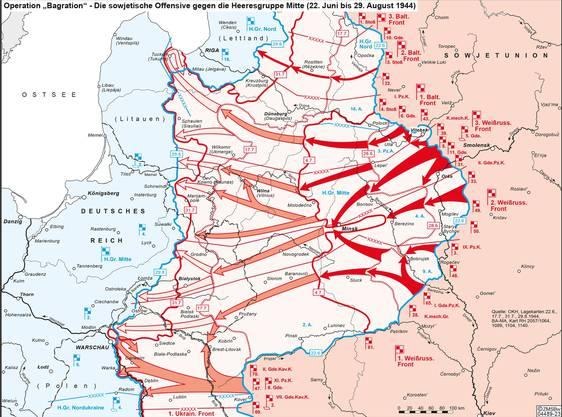 Operation «Bagration»: Die Rote Armee pulverisiert die Heeresgruppe Mitte und erreicht 1944 die Grenzen des Deutschen Reiches.