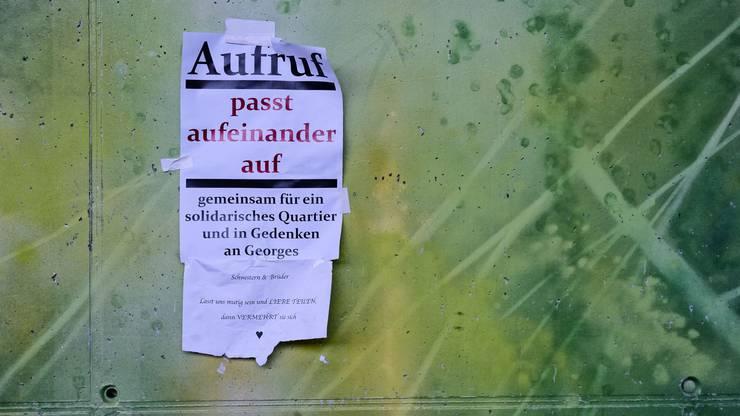 Basel, Dreirosenanlage. Gedenkstätte für den Obdachlosen Georg, der hier am 20. Dezember 2017 erstochen wurde. Photo by Roland Schmid