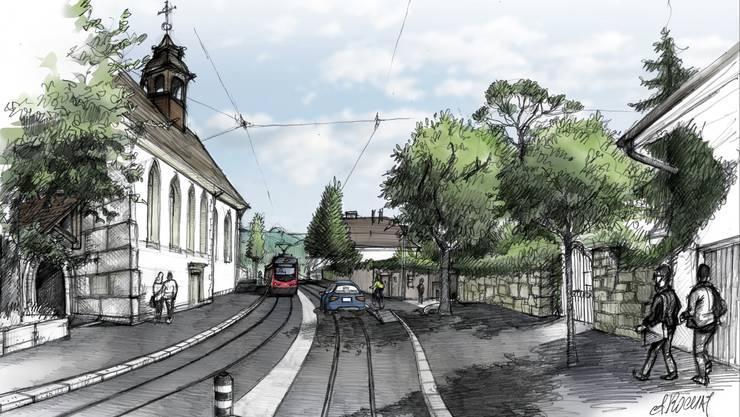 Das Bipperlisi soll in Zukunft zweigleisig durch Solothurn fahren. Hier beim Nadelöhr St.Josefskirche/Stadtpräsidium.
