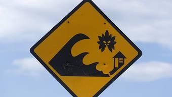 Tsunami-Warnschild in Banda Aceh auf der indonesischen Insel Sumatra.