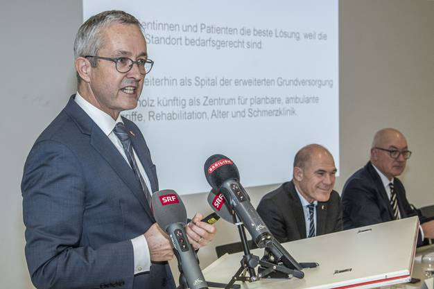 Gesundheitsdirektor Thomas Weber an der Pressekonferenz im Kantonsspital Baselland.