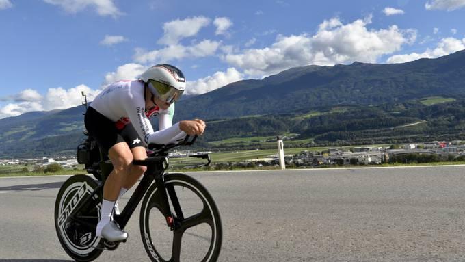 Stefan Bissegger, im Bild während des Zeitfahrens an der U23-WM im letzten Herbst in Innsbruck, gewann die 1. Etappe der Tour de l'Ain in Frankreich