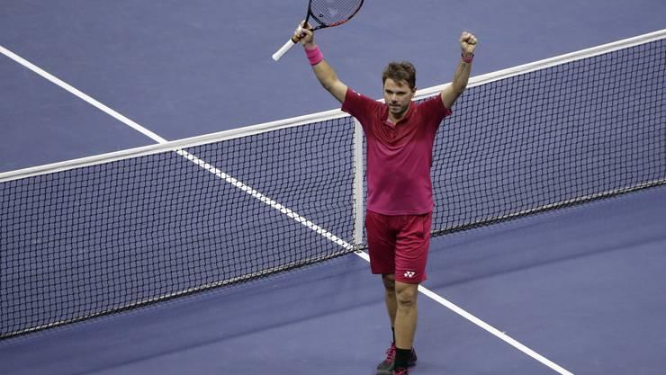 Stan Wawrinka feiert seinen Sieg und den Einzug in den Final des US Open