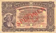 """1911: """"Neuenburgerin"""" im Medaillon links. Diese Note wurden in Waterlow, London gedruckt."""