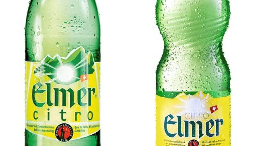 Das bekannte Design (links: 50cl-PET-Flasche) von Elmer Citro hat ausgedient. Zum 90-jährigen Jubiläum des Glarner Sprudelwassers wurde die Etikette aufgefrischt und das Elmer Bergrelief auch oben auf den Flaschenhals geprägt (Flasche rechts).