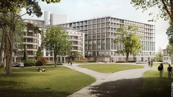 Blick vom Park auf das geplante neue Gebäude des Universitätsspital Zürich USZ (rechts).
