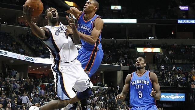 Oklahoma City mit Russell Westbrook (rechts) unterlag in Memphis