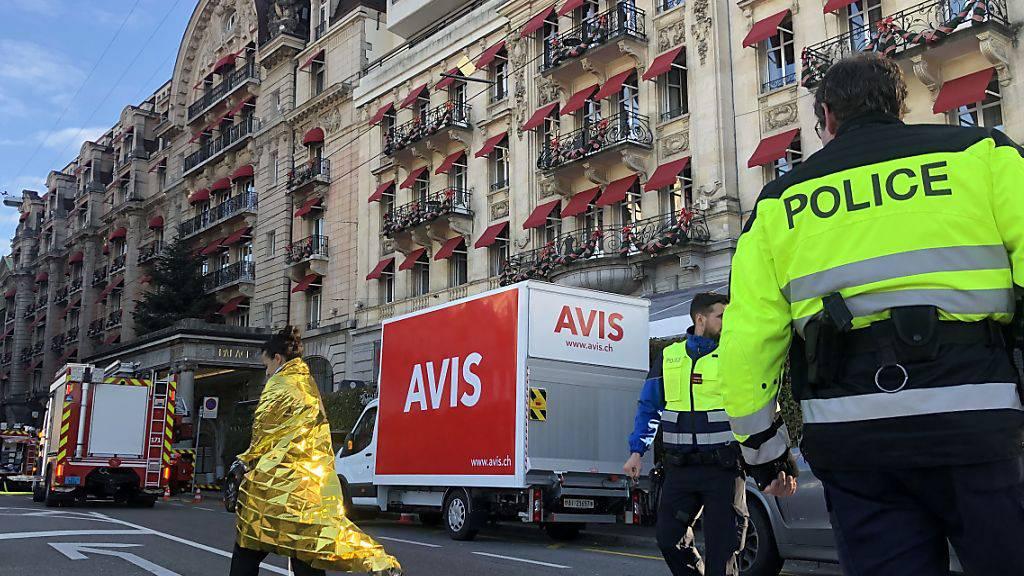 Nach einem Brandausbruch musste das Fünf-Sterne-Hotels Palace in Lausanne evakuiert werden.
