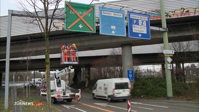 Autobahnzufahrt in Schwamendingen zu