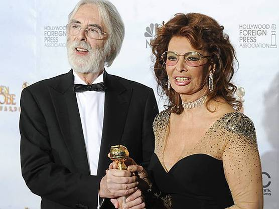 Michael Haneke mit Sophia Loren an den Golden Globes