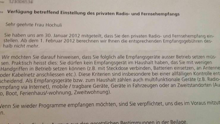Das Schreiben der Billag im Jahr 2012 als Reaktion auf Susanne Hochulis Abmeldung.