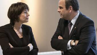 Stehen im Zentrum der Delegiertenversammlung der CVP: die abtretende Bundesrätin Doris Leuthard und Parteipräsident Gerhard Pfister. (Archivbild)