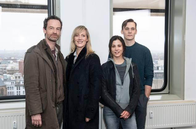 Das aktuelle Dortmunder Ermittlerteam: Die Schauspieler Jörg Hartmann (l-r) als Peter Faber, Anna Schudt als Martina Bönisch, Aylin Tezel als Nora Dalay, und Rick Okon als Jan Pawlak